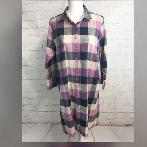 Christopher & Banks Purple Plaid Shirt Dress- XL